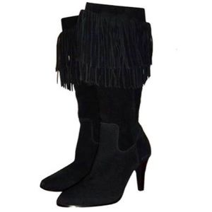 Matisse Sioux Black Suede Fringe Heeled Tall Boots